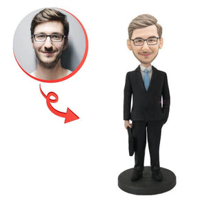 Custom Businessman With Briefcase Bobblehead