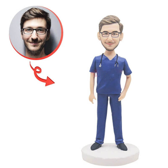 Custom Doctor In Blue Uniform Bobblehead