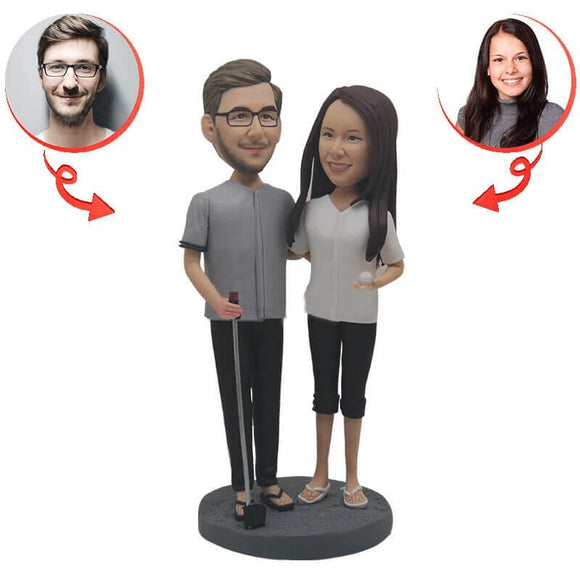 Custom Golf Couples Bobblehead