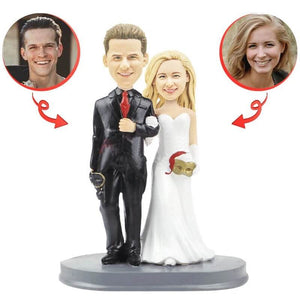 Custom Black Suit With Mask Wedding Bobblehead