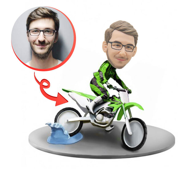 Custom Riding A Motorcycle Bobblehead