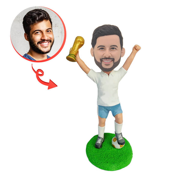 Custom Athletes Holding Up Trophies Bobblehead