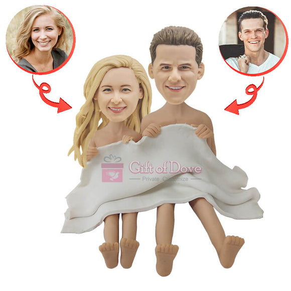 Custom Couple Covered Blanket Bobblehead