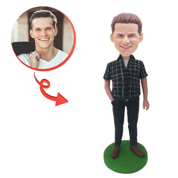 Custom Leisure Male  One Handed Pocket Bobblehead