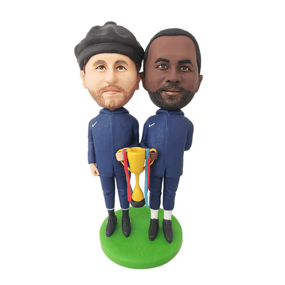 Custom Two Men Holding Trophies Bobblehead