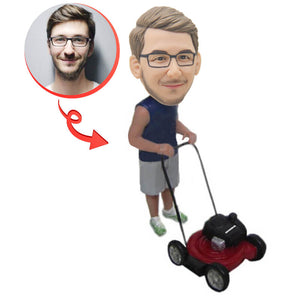 Dude on Lawn Mover Custom Bobblehead