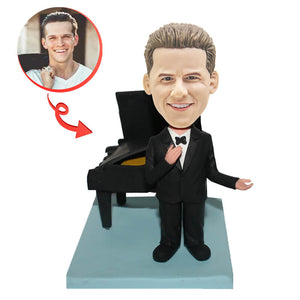 Personalized Singer Performing Next To A Piano Custom Bobblehead