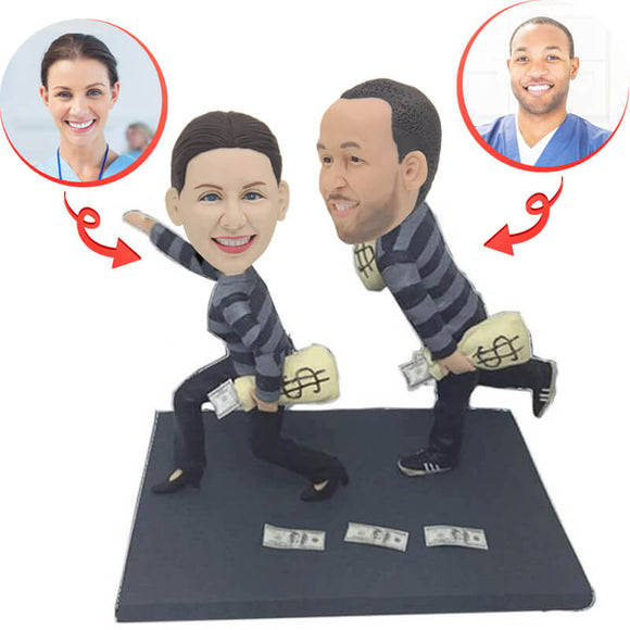 Funny Robber Couple Custom Bobbleheads