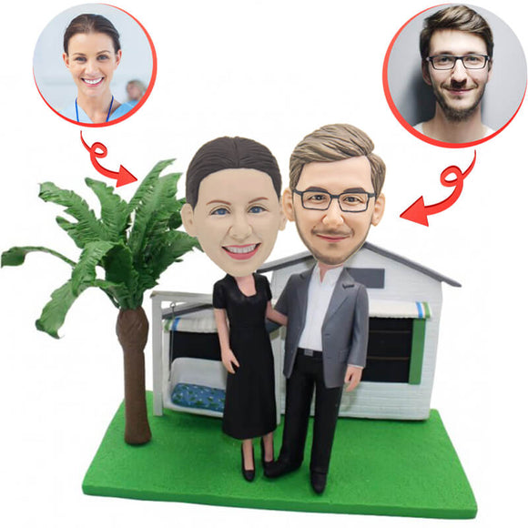 Anniversary Couple In The Garden Custom Bobbleheads