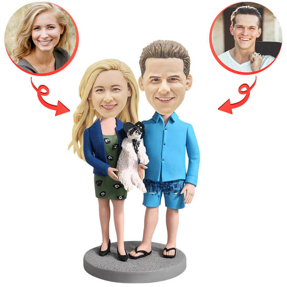 Couple Holding A Dog Custom Bobblehead