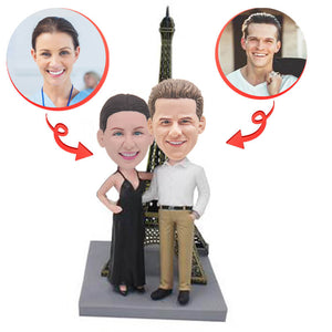 Anniversary Couple In Front Of The Eiffel Tower Custom Bobbleheads