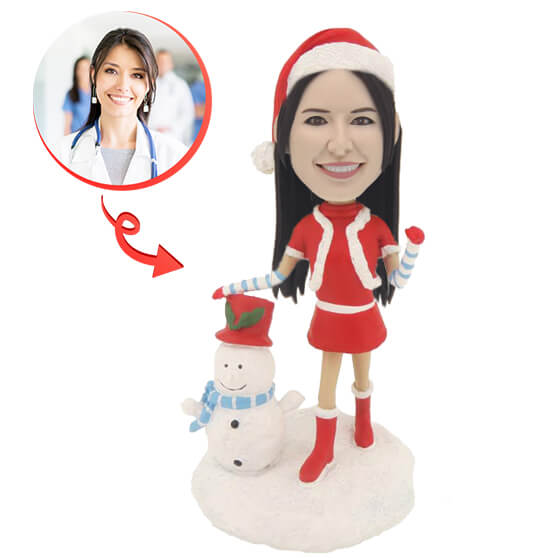 Custom Christmas Woman Bobblehead