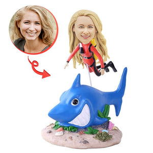 Custom Red Wetsuit Scuba Diver With Shark Bobblehead