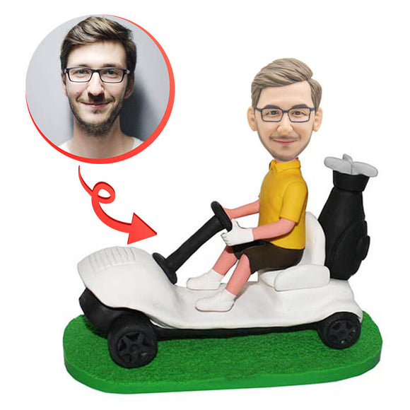 Custom Man Driving Golf Cart Bobblehead