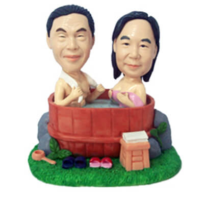 Custom Couple Bathing In The Tub Bobblehead