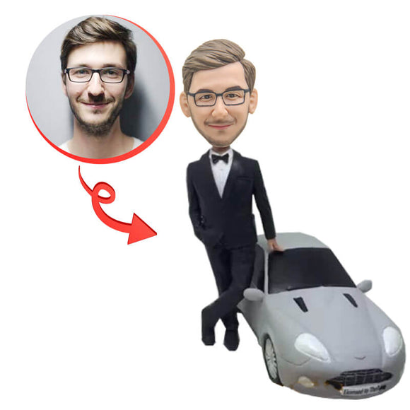 Custom Black Suit Man And Luxury Car Bobblehead