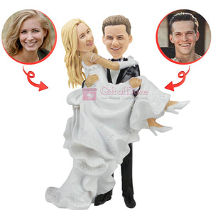 Custom Bridegroom Holds The Bride Bobblehead