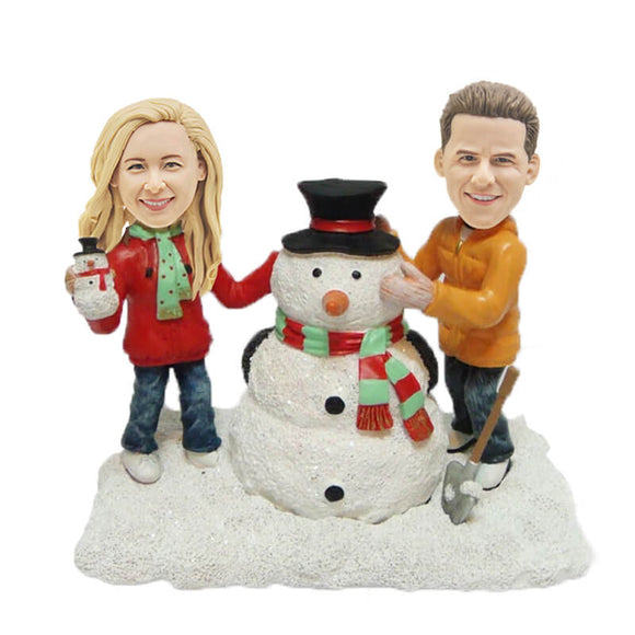 Custom Building A Snowman Couples Bobbleheads