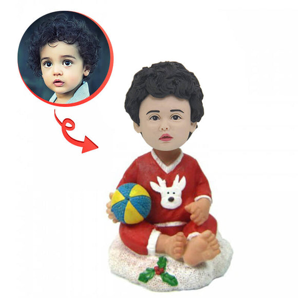 Custom Christmas Baby With Ball Bobblehead