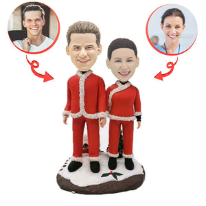 Christmas Couple Standing In The Snow Custom Bobblehead