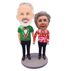 Custom Ugly Sweater Couple Bobbleheads