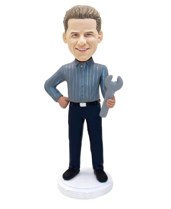 Custom Action Figure Repairman Mechanic Bobblehead B