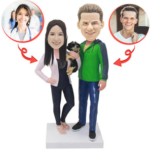 Custom Anniversary Couple With Pet Bobblehead