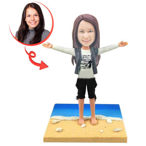 Custom Beach Walking by The Sea Bobblehead