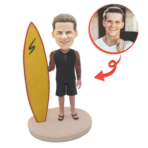 Custom Beach With Surfboard Cool Surfboard Bobblehead