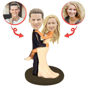 Custom Bridegroom Holds the Bride Bobbleheads