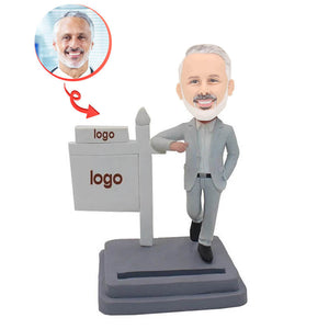 Custom Business Card Holder With Company Logo Bobblehead