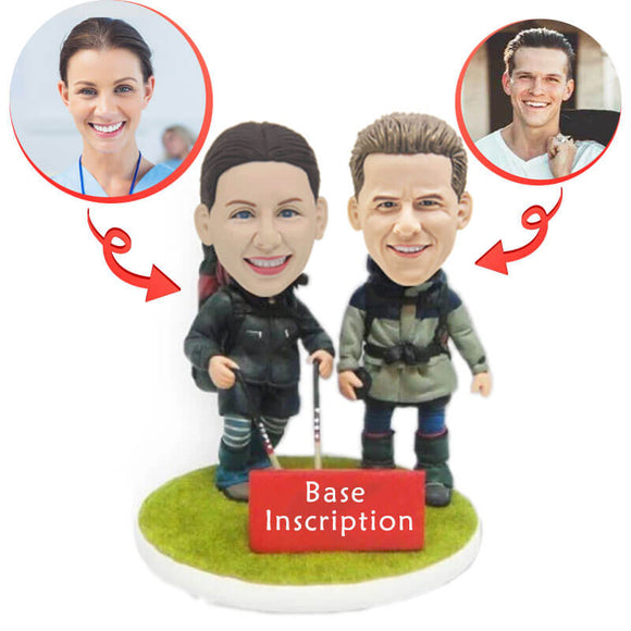 Custom Couple Hikers Bobbleheads