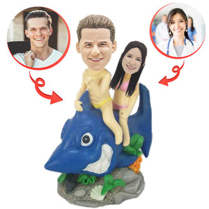 Custom Couple Riding Shark Bobblehead