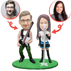 Custom Double Playing Guitar and Sing Bobbleheads