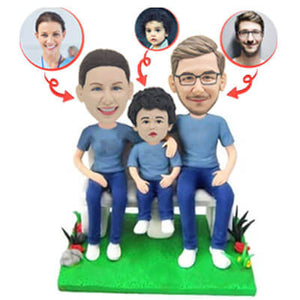 Custom Family of Three Father Mother and Son Bobbleheads