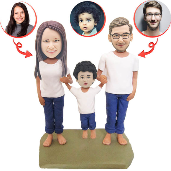 Custom Football Family Of Three Bobblehead