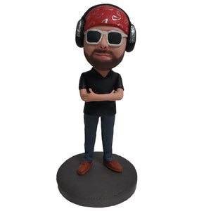 Custom Men With Headphones and Sunglasses Bobblehead