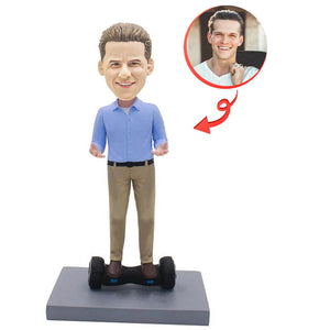 Custom Stepping On The Balance Car Man Bobblehead