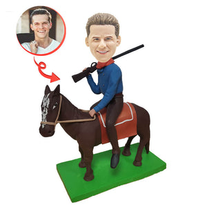 Custom WESTERN COWBOY RIDING Bobblehead Can add Denim Hat