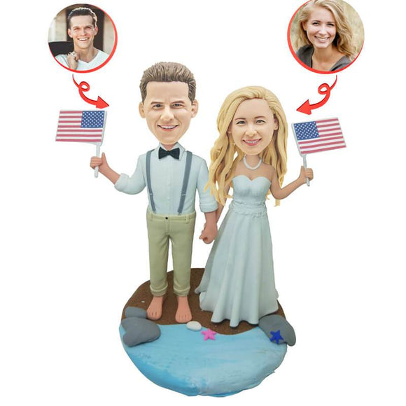 Custom Wedding Couple with National Flag  Bobblehead 1