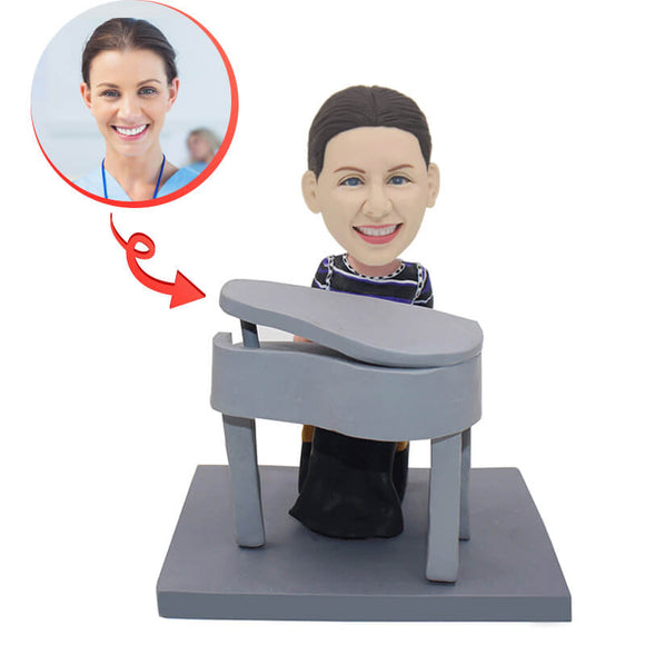 Custom Woman Piano Play Piano Bobblehead