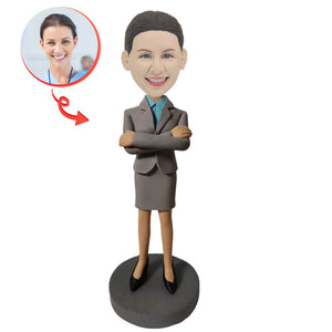 Custom Young Smiling Businesswoman Bobblehead
