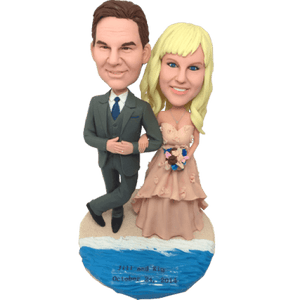 Custom Hawaii Beach Wedding Anniversary Bobblehead