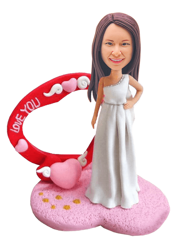 Custom I Love You Bride Bobblehead