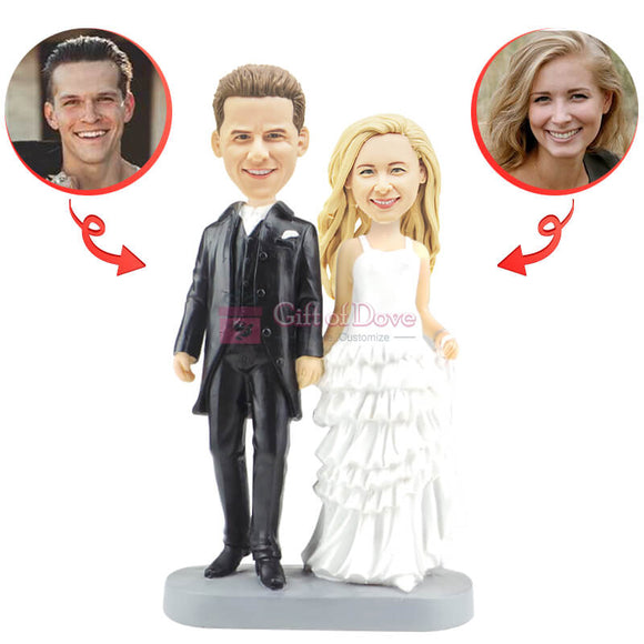 Custom Groom And Bride Hand In Hand Wedding Bobblehead