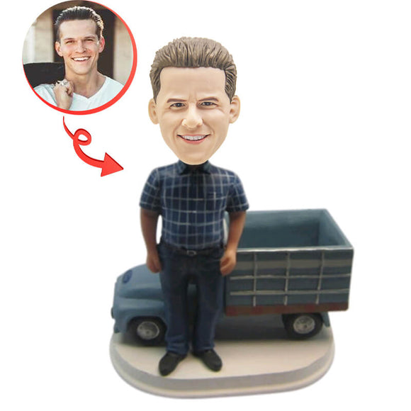 Man And His Pickup Truck Custom Bobblehead