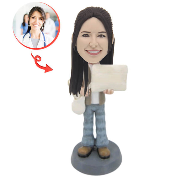 Newspaper Girl Custom Bobblehead