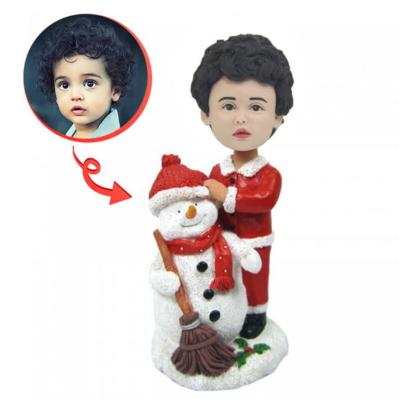Custom Christmas Child With Snowman Bobblehead