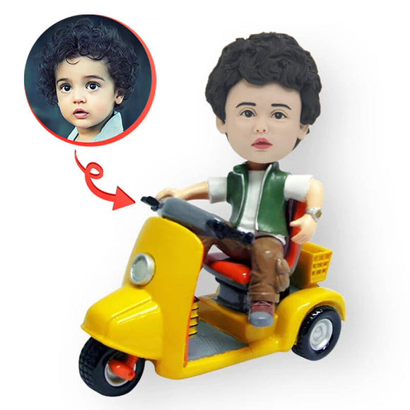 Custom Vespa Riding Boy Bobblehead