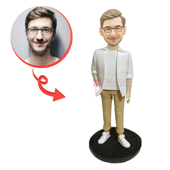 Custom White Shirt Casual Bobblehead